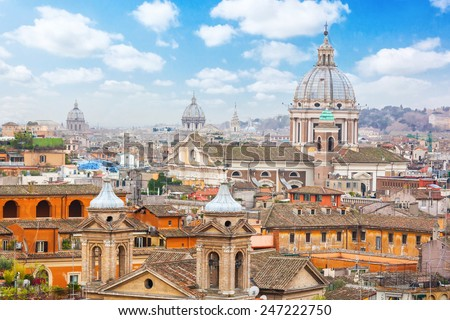 Rome Panoramic view from Viale Della Trinita dei Monti. - stock photo