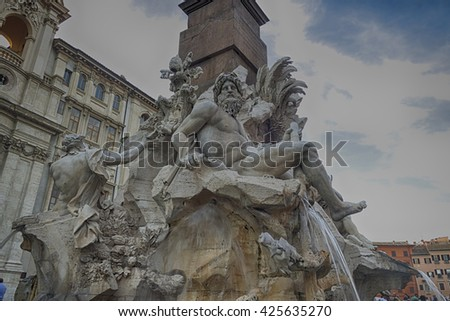 Rome piazza Navona the fountain of four rivers designed by Bernini - stock photo