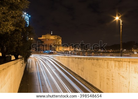 "Rome (Roma, Italy) - Lungotevere and ""Castel Sant'Angelo"" (The Mausoleum of Hadrian) - stock photo"