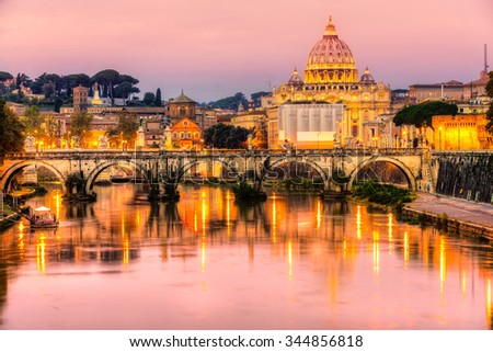 Rome, Saint Angel Castle, St. Peter and Vatican.Italy. - stock photo