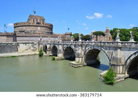 Rome. Sant'Angelo Bridge in a sunny summer day