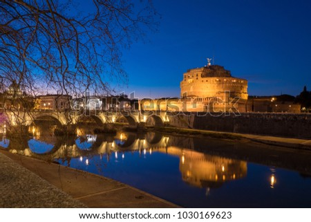 Rome Sant' Angelo Castle and Saint Angelo Bridge by night