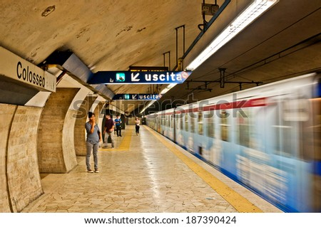 ROME - SEPTEMBER 19: metro leaving Colloseo station on September 19, 2013 in Rome, Italy. Founded in 1955 it has 2 line (A,B) and C is under construction, the 1st line to extend beyond the city limits - stock photo
