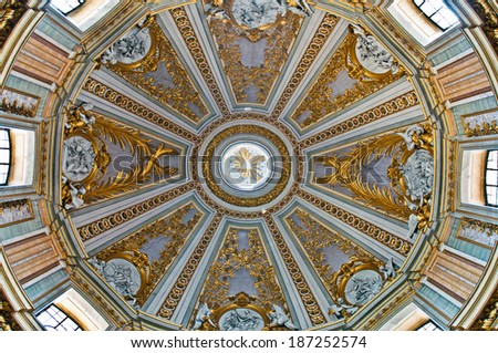 ROME - SEPTEMBER 17: stunning Dome view of the Santissimo Nome di Maria (Most Holy Name of Mary at the Trajan Forum) Church in Rome, Italy on September 17, 2013. - stock photo