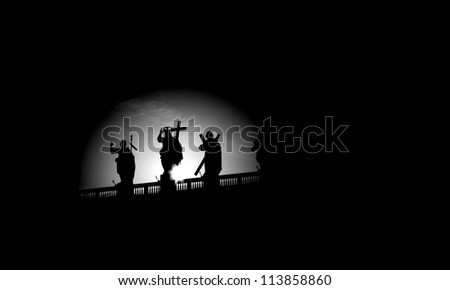 Rome - silhouette of Jesus with the cross form  colonnade od st. Peter s basilica