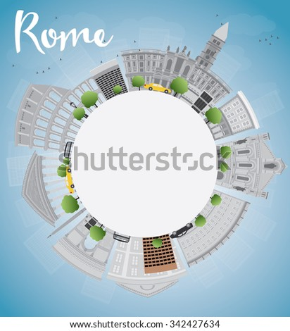 Rome skyline with grey landmarks and copy space. Business travel and tourism concept with historic buildings. Image for presentation, banner, placard and web site.