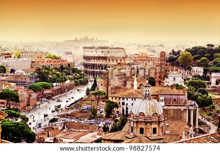Rome skyline with Rome Colosseum and Roman Forum - stock photo