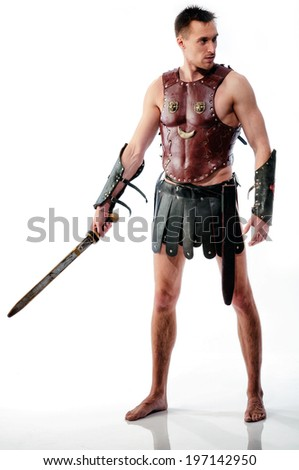 Rome soldier stays with sword on white background - stock photo