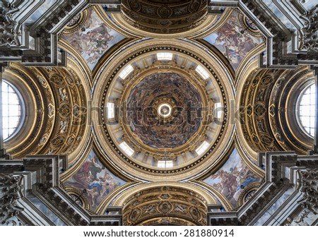 Rome 05-16-2015: The church of Sant'Agnese in Agone is one of the most visited churches in Rome due to its central position in the famous Piazza Navona.  - stock photo