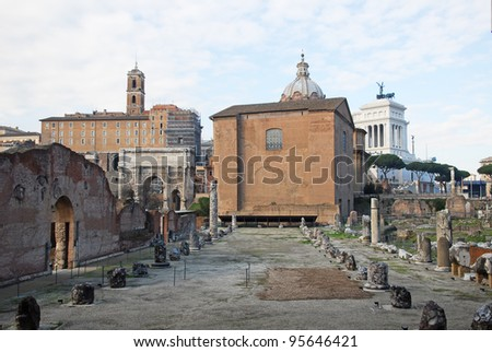Rome, the Roman Forum with the basilica Emilia and the Curia Julia - stock photo