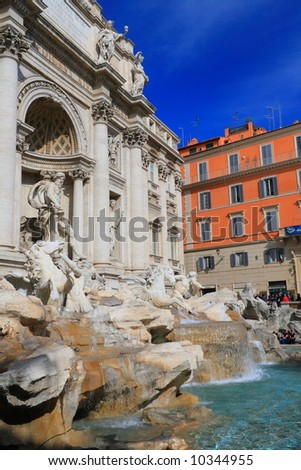 Rome. Trevi's Fountain - famous landmark in Rome