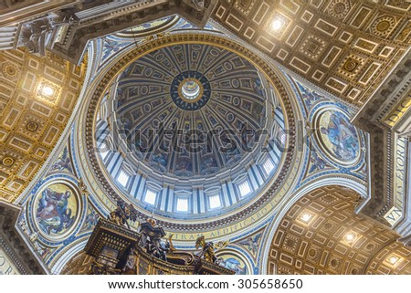 ROME. VATICAN. ITALY - MARCH 17, 2015:  Dome of the Saint Peter's Basilica. Inside view.