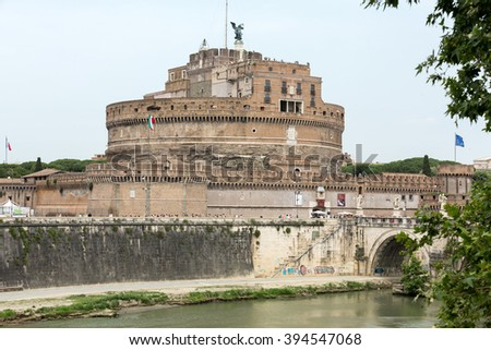 Rome - View of Castel Sant'Angelo, Castle of the Holy Angel built by Hadrian in Rome, along Tiber River - stock photo