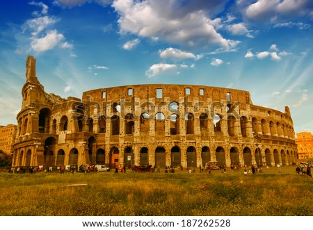 Rome. View of Colosseum on a beautiful spring afternoon.