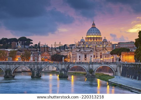 Rome. View of St. Peter's cathedral in Rome, Italy during beautiful sunset. - stock photo