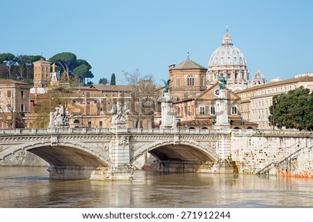 Rome - Vittorio Emanuele II and cupola of St. Peters basilica in the background.  - stock photo