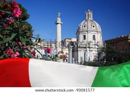 Rome,Vittorio Emanuele, Piazza Venezia - stock photo