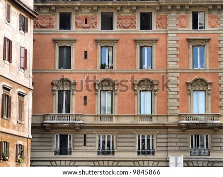 Rome windows. Typical architecture of Italian capital city.