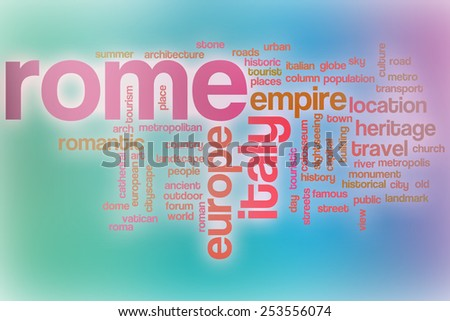 Rome word cloud concept with abstract background - stock photo