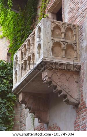 Romeo and Juliet balcony. (Verona, Italy). Vertically. - stock photo