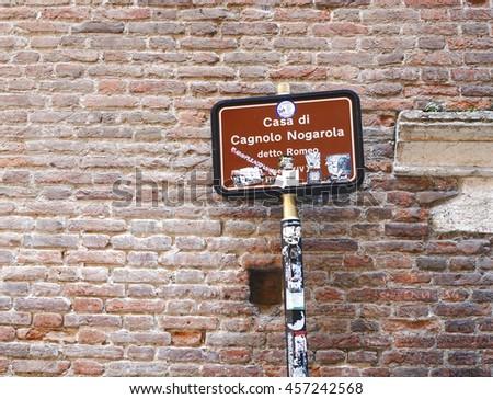 Romeo house in Verona, Italy - stock photo