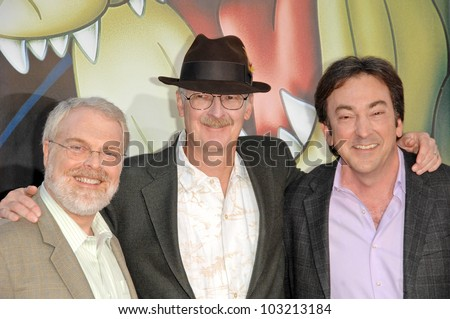 "Ron Clements, John Musker and Peter Del Vecho  at the ""The Princess And The Frog"" World Premiere, Walt Disney Studios, Burbank, CA. 11-15-09 - stock photo"
