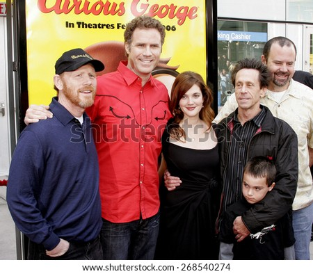 "Ron Howard, Will Ferrell, Drew Barrymore and Brian Grazer attend the World Premiere of ""Curious George"" held at the ArcLight Cinemas in Hollywood, California on January 28, 2006. - stock photo"