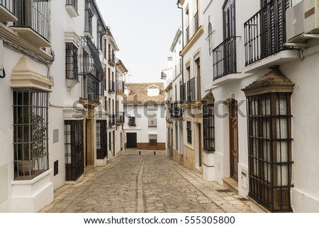 Ronda (Andalucia, Spain): old typical street with white houses