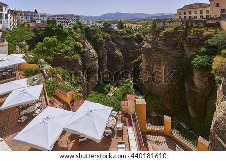Ronda, Spain at the Puente Nuevo Bridge over the Tajo Gorge - panorama - stock photo