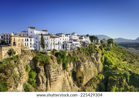 Ronda, Spain buildings on the Tajo Gorge. - stock photo