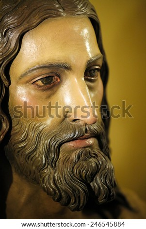 RONDA, SPAIN - DECEMBER 1, 2013: Face of Jesus Christ, in the church of Ronda, Spain. - stock photo