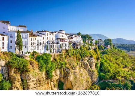 Ronda, Spain old town cityscape on the Tajo Gorge. - stock photo
