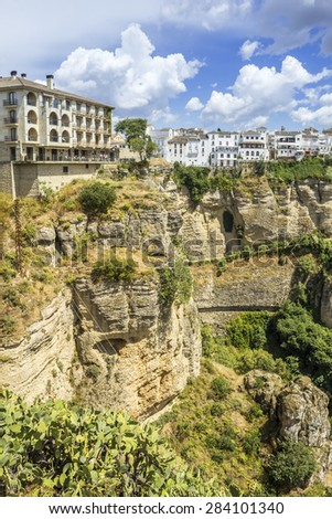 Ronda view. A city in the Spanish province of Malaga, within Andalusia. Situated in a mountainous area about 750 m above mean sea level. The Guadalevin River runs through the city, dividing it in two - stock photo