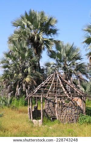 Rondavel Ruins with Palm Trees in Boro, Botswana in Okavango Delta - stock photo