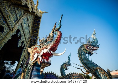 Rong Sua Ten temple with blue sky background, Chiang Rai Province, Thailand. Blue temple.