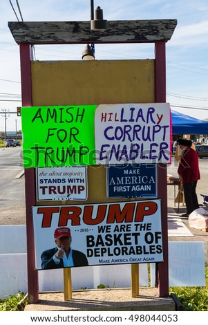 Ronks, PA, USA - October 11, 2016: Trump campaign signs offered for sale by a vendor along busy Route 30 in Lancaster County.