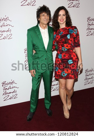 Ronnie Wood and fiance Sally Humphreys arriving for The British Fashion Awards 2012 held at The Savoy, London. 27/11/2012 Picture by: Henry Harris