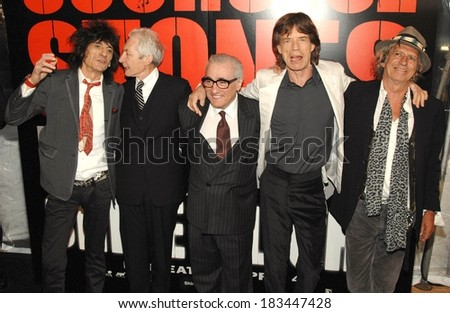 Ronnie Wood, Charlie Watts, Martin Scorsese, Mick Jagger, Keith Richards at SHINE A LIGHT Premiere, Clearview's Ziegfeld Theater, New York, NY, March 30, 2008  - stock photo