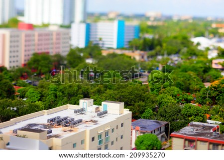 Roof Airconditioning units tilt shift blur lens effect - stock photo