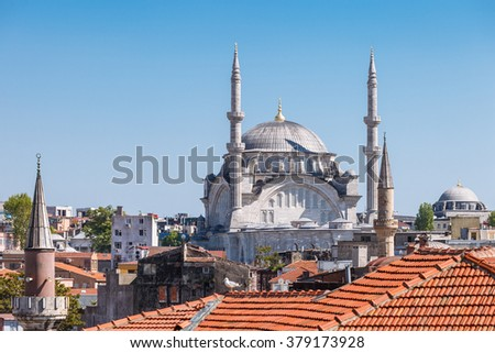 Roof and mosque in Istanbul, Turkey