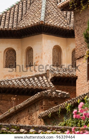 Roof detail from inside the Alhambra palace in Granada, Spain - stock photo