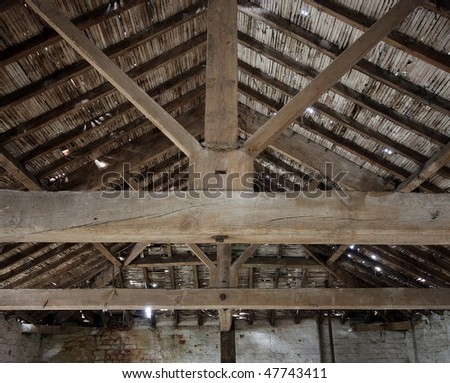 Roof detail in an old barn on a UK farm