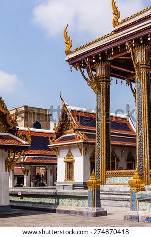 Roof detail in Wat Phra Kaew, Temple of the Emerald Buddha, Bangkok, Thailand. - stock photo