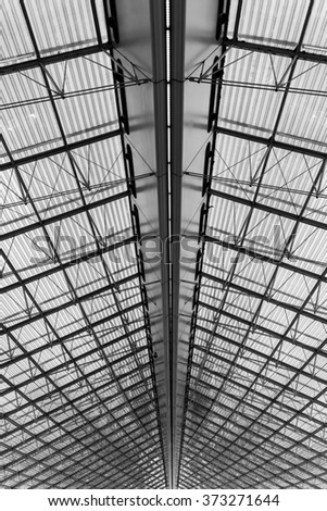 Roof detail of Paris Charles de Gaulle airport terminal. Toned.