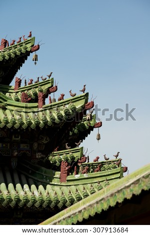 Roof Detail of The Winter Palace, Ulaanbaatar, Mongolia - stock photo