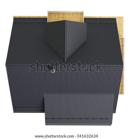 Roof house, top view. 3D graphic isolated object on white background - stock photo
