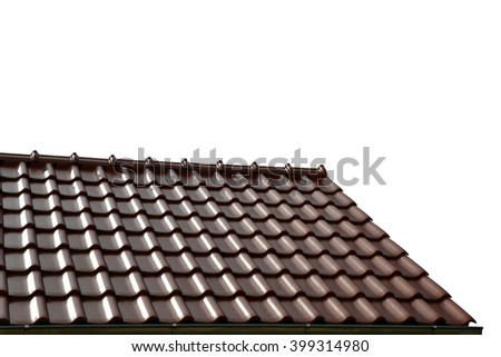 Roof house with tiled roof isolated on white background - stock photo