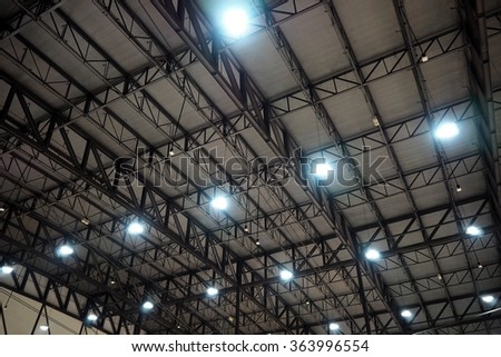 Roof in the big hall with sport light - stock photo