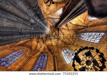 Roof interior of the famous Barcelona Cathedral medieval building - stock photo