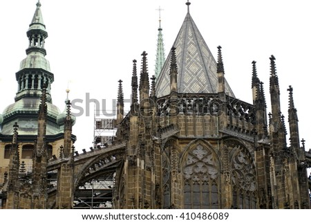Roof Line With Flying Buttresses On The Gothic St Vitus Cathedral In Prague Castle Complex